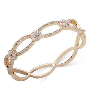 Bracelet Bangle AnneKlein GoldTone Crystal Flower